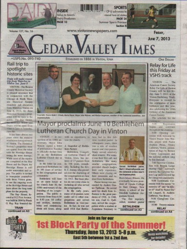 Media Scan for Vinton Cedar Valley Daily Times