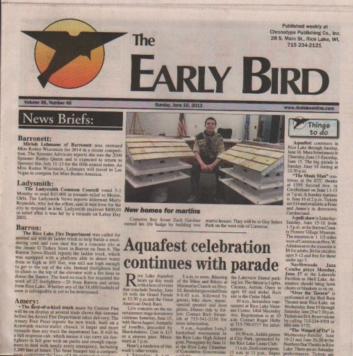 Media Scan for Rice Lake Chronotype - The Early Bird TMC