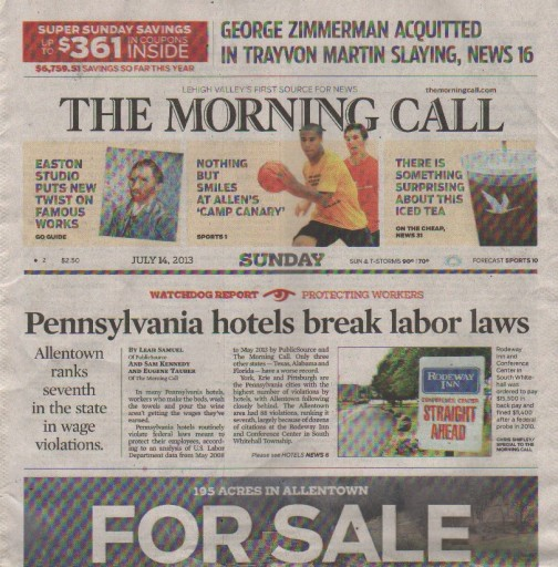 Media Scan for Allentown Morning Call