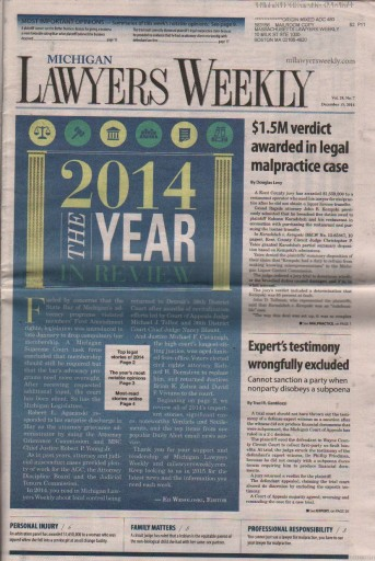 Media Scan for Michigan Lawyers Weekly