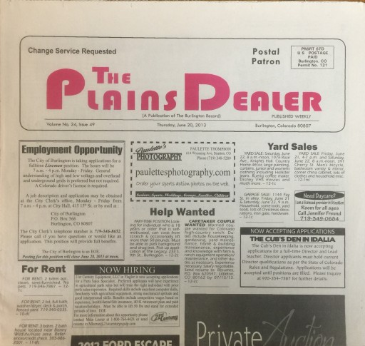 Media Scan for Burlington Record - Burlington Plains Dealer TMC