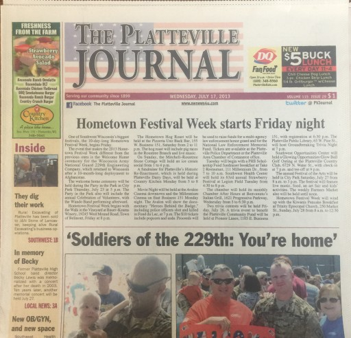 Media Scan for Platteville Journal