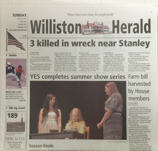 Media Scan for Williston Daily Herald