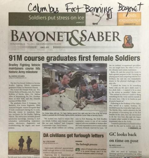 Media Scan for Columbus Fort Benning Bayonet & Saber