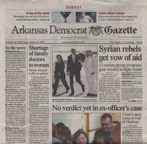 Media Scan for North West Arkansas Democrat Gazette