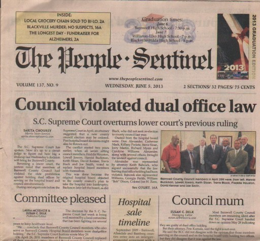Media Scan for Barnwell People Sentinel