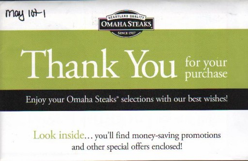 Media Scan for Omaha Steaks Int'l Package Insert Program