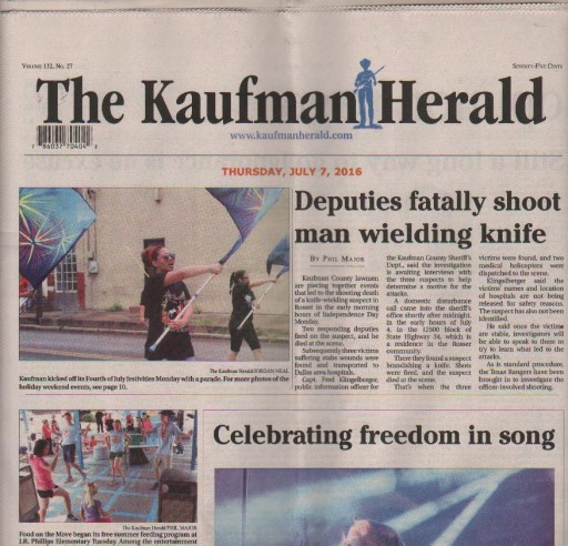 Media Scan for Kaufman Herald