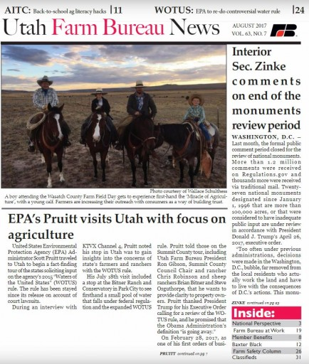 Media Scan for Utah Farm Bureau News