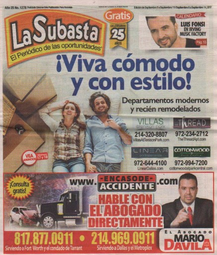 Media Scan for La Subasta- Dallas